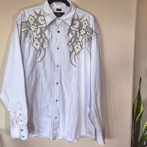 Roar Men's Change Embroidered w Leather Button Up